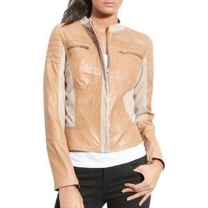 Leith Quilted Leather Racer Jacket Beige